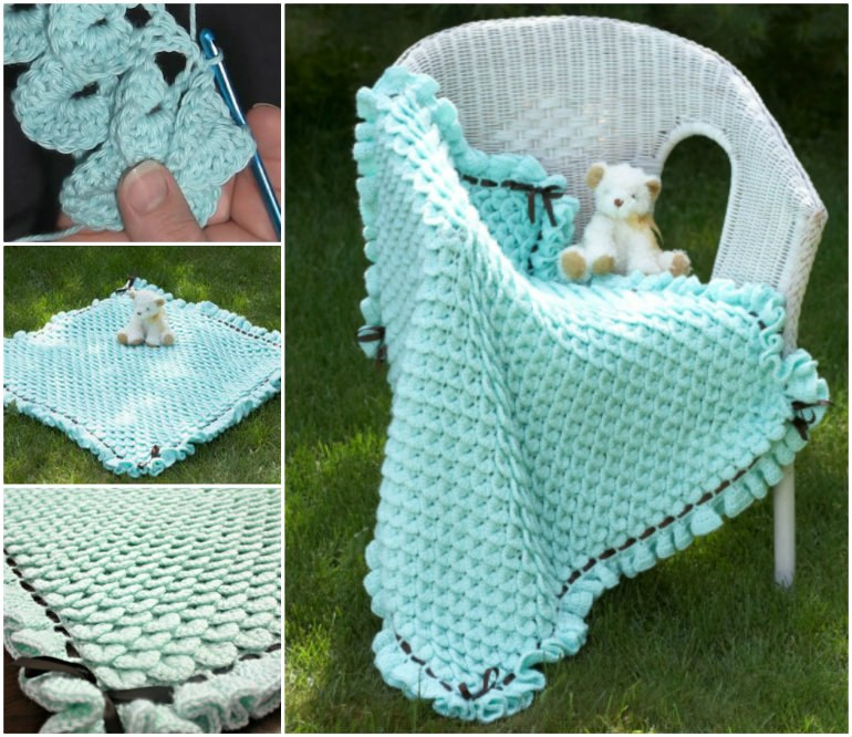 Crocodile Stitch Crochet Baby Blanket - Free Pattern & Tutorial @ 10GoneViral.com