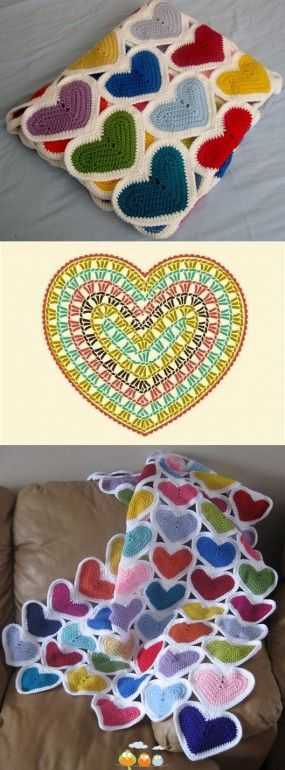 Little Heart Scrapghan - Crochet Baby Blanket Pattern and Chart @ 10GoneViral.Com