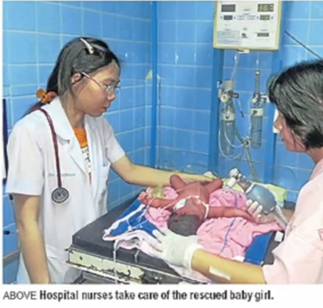 She came face-to-face with a very premature baby.