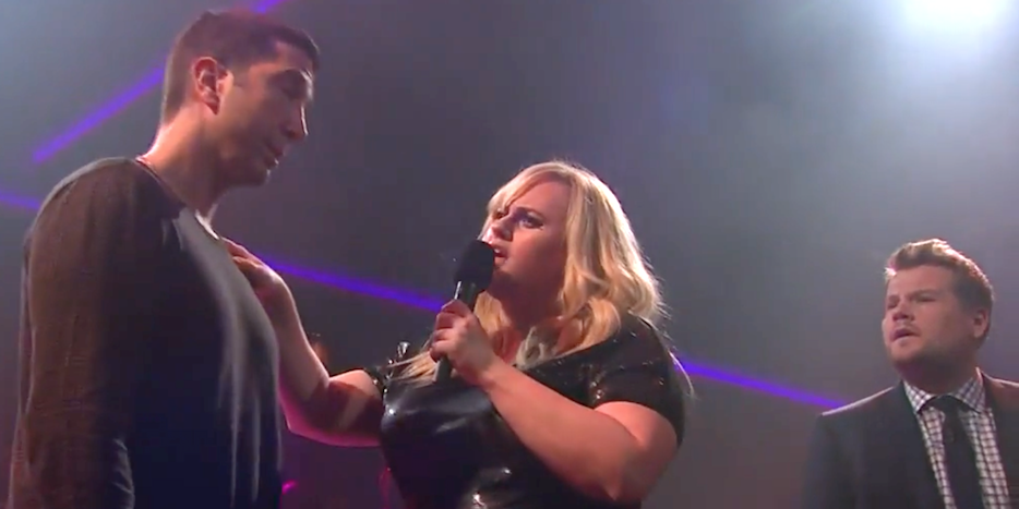 Rap Battle Between James Corden, David Schwimmer, And Rebel Wilson