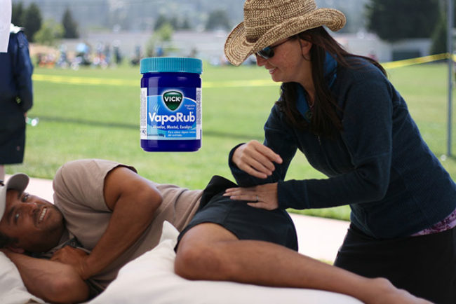 Instead of paying for a sports massage, gently rub a sore muscle with Vicks. Cover the area with a towel and elevate the spot. The soreness should lessen.