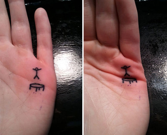Trampoline Tattoo Where The Stick Man Jumps When You Bend Your Palm