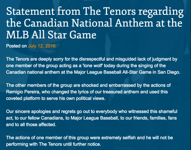 Statement from The Tenors