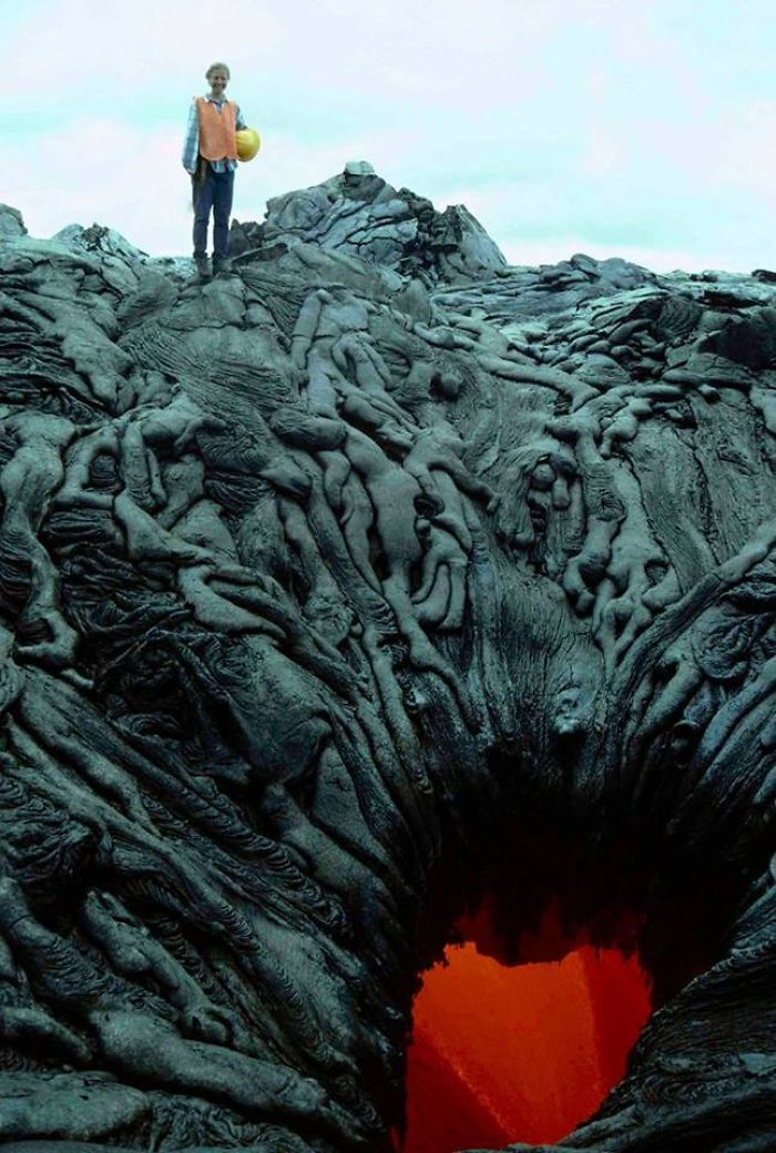 Lava That Formed To Look Like A Pile Of Bodies Being Sucked Into The Fiery Void Of Hell