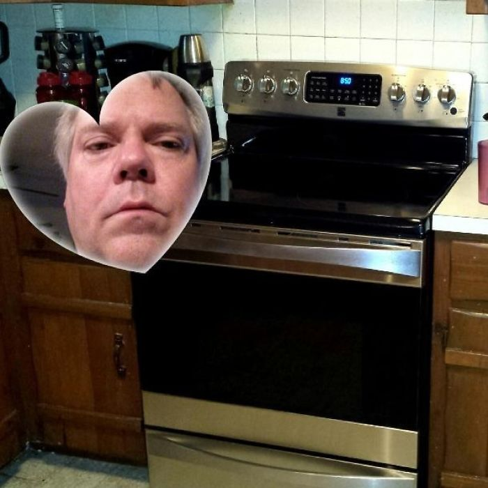 My Dad Doesn't Know How To Turn Off This Front Camera Heart Feature On His Phone And He Tried To Send Me A Pic Of His New Stove
