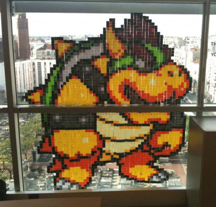 Bored At Work, So Made Bowser With Post-Its