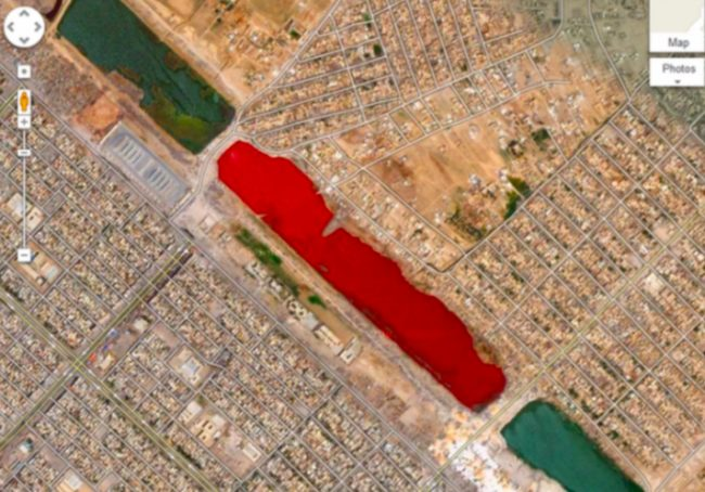 Check out this crimson-colored body of water found in Iraq's Sadr City. It was first brought to the Internet's attention back in 2007, which prompted a lot of speculation. Theories abound, the most gruesome of which states that it's because nearby slaughterhouses dump blood in there, but an official explanation hasn't been given.