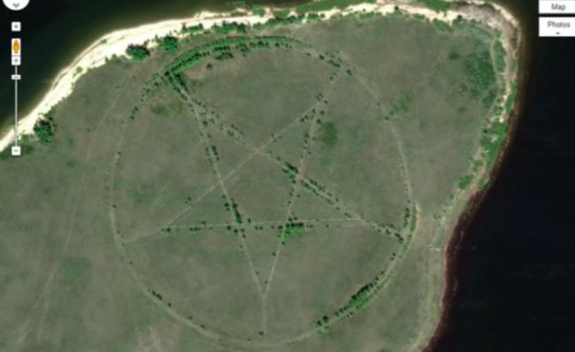 This large pentagram was found on the southern shore of the Upper Tobol Reservoir in Kazakhstan. It may not actually be that scary though. AsEmma Usmanova explained to <i>Live Science</i>, &ldquo;It is the outline of a park made in the form of a star.&rdquo; Stars were known to be popular symbols during the Soviet era and the park&rsquo;s roadways make the shape more visible.