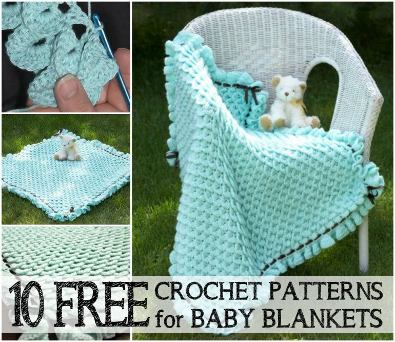 Ten Free Crochet Patterns & Tutorials for Baby Blankets @ 10GoneViral.com