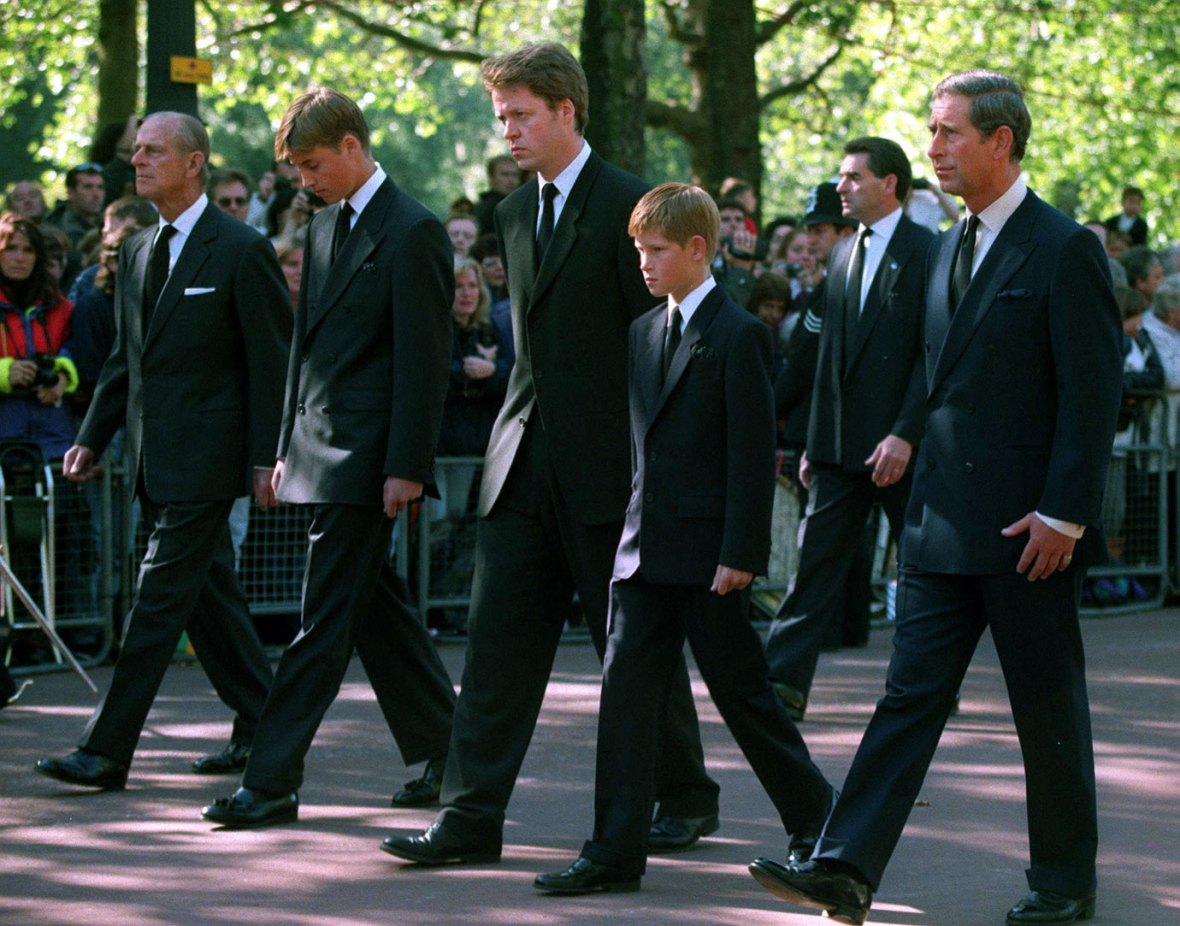 Prince Charles, Prince Harry, Earl Spencer, Prince William and Prince Philip follow the casket during the funeral procession of Princess Diana